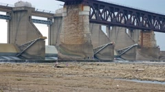 People Train Bridge Dam Ohio River Bed Fossil Flats Louisville Stock Footage