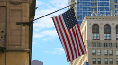 American Flag Flies From Downtown Office Building Day Arkistovideo