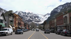 Stock Video Footage of Telluride City Colorado town center business 4K 291