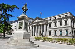 Plaza de las cortes and spanish congress of deputies in madrid, spain Stock Photos