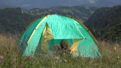 4K Happy Little Girl Playing in Tent Waving Goodbye, Child in Camping Mountains - stock footage