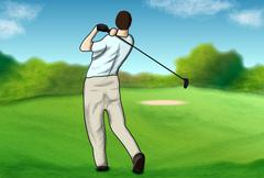 On the golf course Stock Illustration