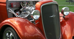 Stock Video Footage of Old vintage Chevrolet at car show in Canada