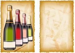 ancient drinks menu - stock illustration