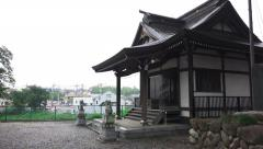 Pan Of The Empty Courtyard Of A Shinto Shrine In Fussa Tokyo 4K Stock Footage