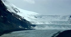 4K Wide Angle Glacier, Ice Field in Mountains, Banff Alberta Stock Footage