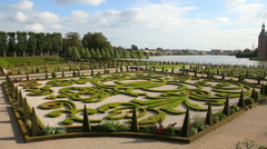 From the famous baroque garden at Frederiksborg Palace Stock Footage