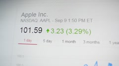 Rising Apple Computer Stock chart during keynote Stock Footage