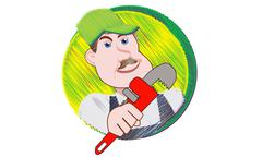Plumber With Pipe Wrench Stock Illustration