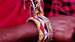 Masai Clothing Detail Stock Footage