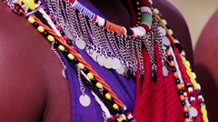 Masai Neckless Detail Stock Footage