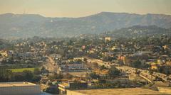 Sunset Sunrise Los Angeles Freeway Timelapse with Hollywood Hills Background Stock Footage