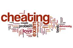 cheating word cloud - stock illustration