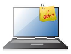 Stock Illustration of i quit post on computer illustration design
