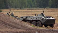 Russian army. Infantry fighting vehicle BMP-3 and BTR-80 stand on position. Stock Footage