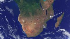 Realistic Earth Globe Zoom and Dock on Southern Africa Stock Footage
