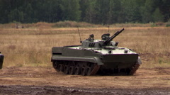 Russian army. Infantry fighting vehicles BMP-3 and BTR-80 stand on position. Stock Footage