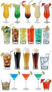 Set of drinks, cocktails, cola, beer, water and whisky Stock Photos