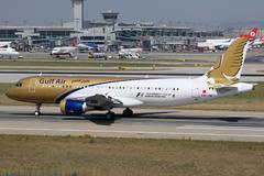 gulf air airbus a320 istanbul airport - stock photo