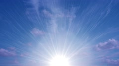 Heavenly Sun Light Blue Sky Clouds Stock Footage