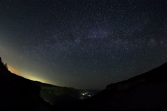 4K. Time lapse of stars behind mountain. Cave city Kachi-Kalon Stock Footage