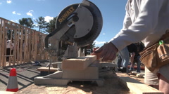 Stock Video Footage of habitat home building low angle table saw