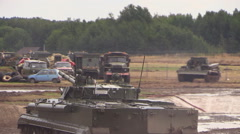 Russian army. Infantry fighting vehicle BMP 3 jumping from the ramp Stock Footage