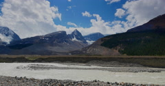 4K Glacial River Bed, Mountains and Icefield in Alberta, Canada Stock Footage