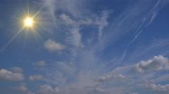Heavenly Sun Light Blue Sky Clouds Stock Footage