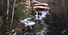 Frank Lloyd Wright's Falling Water house in Pennsylvania. Stock Footage