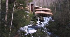 Frank Lloyd Wright's Falling Water house in Pennsylvania. - stock footage