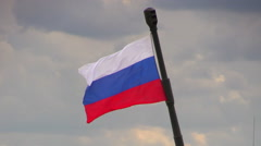 Russian flag on the barrel of the big cannon Stock Footage