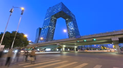 Stock Video Footage of Time lapse illuminated elevated Expressway traffic CCTV Building Beijing