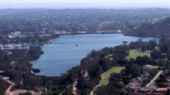 Stock Video Footage of San Diego Horizon/Cowles Mountain/Zoom out/Lake Murray