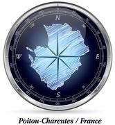 Map of poitou-charentes with borders Stock Illustration