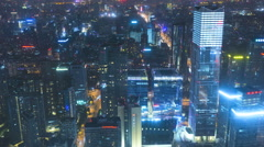 Stock Video Footage of Time lapse illuminated elevated commuter traffic development Beijing
