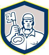 Locksmith carry key shield retro Stock Illustration