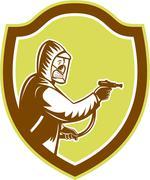Pest control exterminator spraying shield retro Stock Illustration