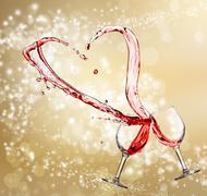 heart splash from two glasses of red wine - stock illustration
