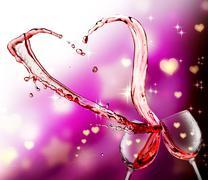 Heart splash from two glasses of red wine Stock Illustration