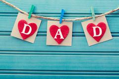 fathers day message on felt hearts - stock photo