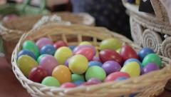 Sound egg shakers in a skep (ungraded) Stock Footage