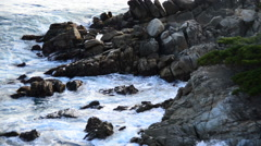 Pacific Ocean Waves Crashing on Rocks - Big Sur Stock Footage