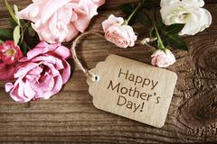 Mothers day card with rustic roses Stock Photos