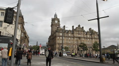 Edinburgh - August 16:  Princes street Edinburgh Scotland August 16th 2014 Stock Footage