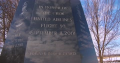 The victims of United flight 93 are honored at a church outside Shanksville, Pa. Stock Footage