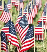 Stock Photo of Large Group Of American Flags - Vertical