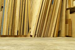 Sheets Of Plywood In A Workshop - stock photo