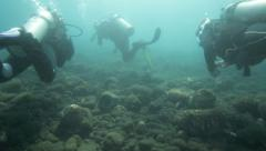 Scuba divers returning to shore after dive Stock Footage