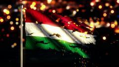 Hungary Flag Torn Burned War Freedom Loop Animation - 4K Resolution Ultra HD UHD Stock Footage
